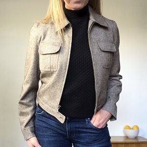 GAP Brown Tan Tweed Cropped Zip Front Jacket XS
